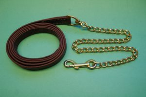 """Leather Lead with 30"""" Chain"""